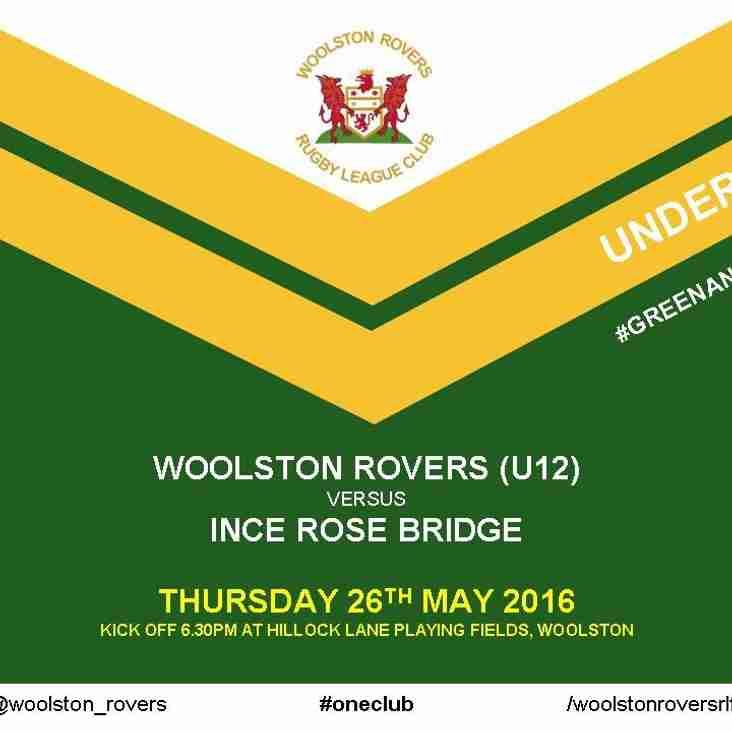 WOOLSTON ROVERS (U12) v INCE ROSE BRIDGE