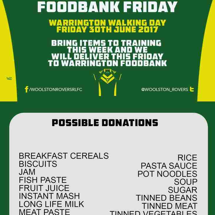 ROVERS TO COLLECT FOR WARRINGTON FOODBANK