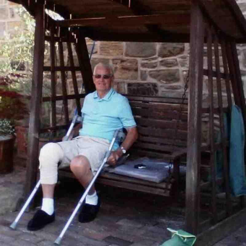 Albert on crutches