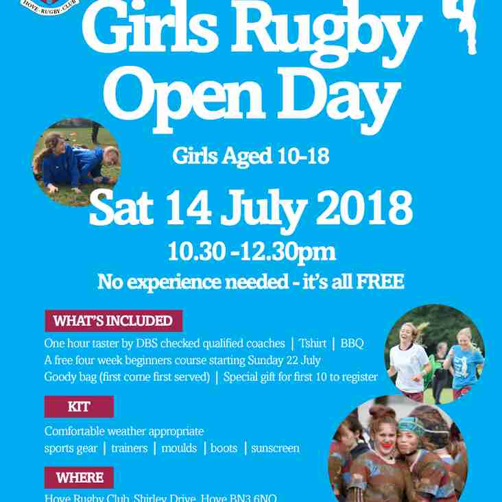 Girls wanna have fun? Come join our FREE Girls Open Day Saturday 14 July