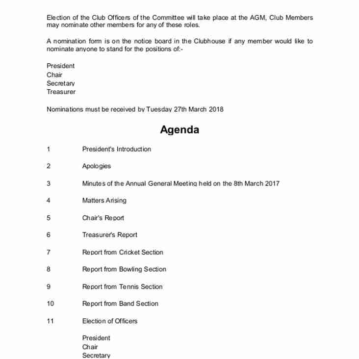 Notice of Club AGM and Agenda - Wednesday 28th March at 8.00 pm at the Clubhouse