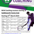 New tennis coaching sessions starting on Wednesday 27th March