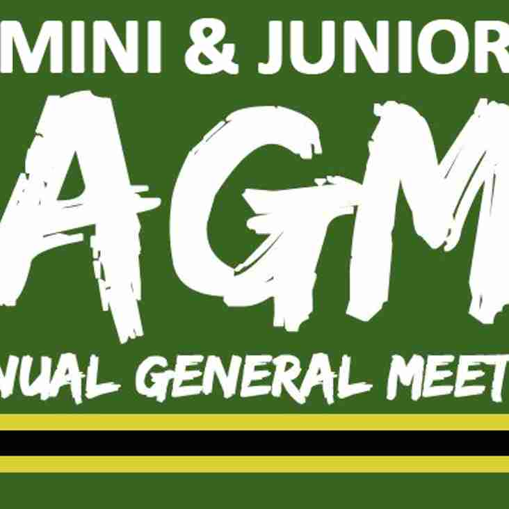 Mini & Junior AGM - 1st May