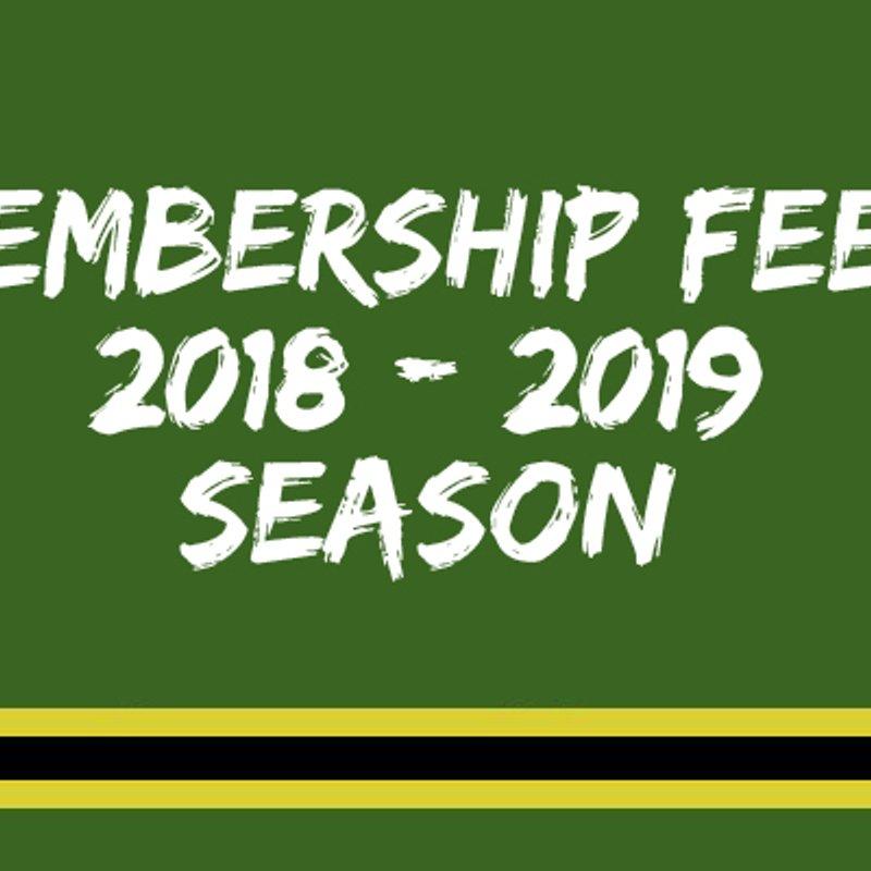 Membership Fees 2018/2019 Season