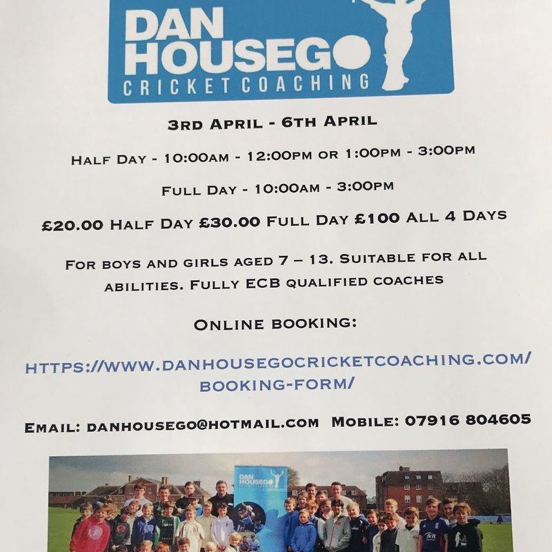 Our ECB Level 4 Coach, Dan Housego, is holding a cricket camp during the 1st week of the Easter holidays