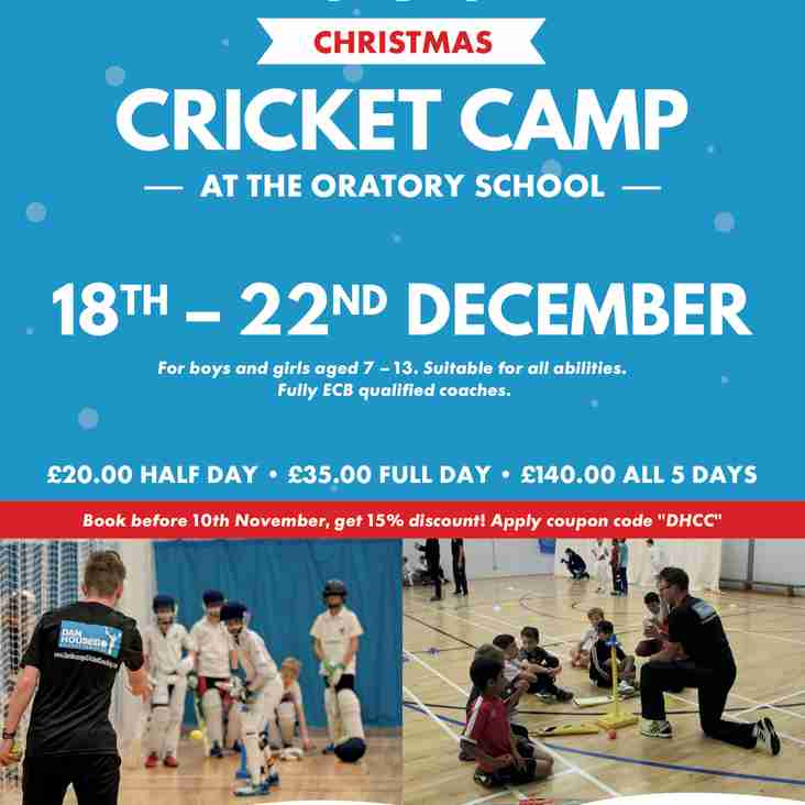 CHRISTMAS CRICKET CAMP - 7-13 year old boys & girls