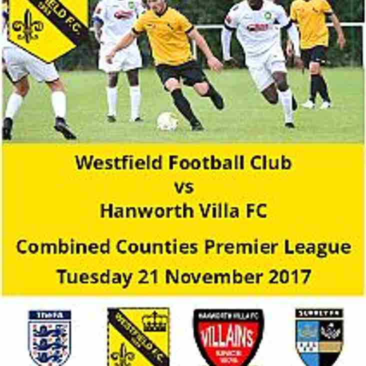 Westfield vs Hanworth Villa this Tuesday