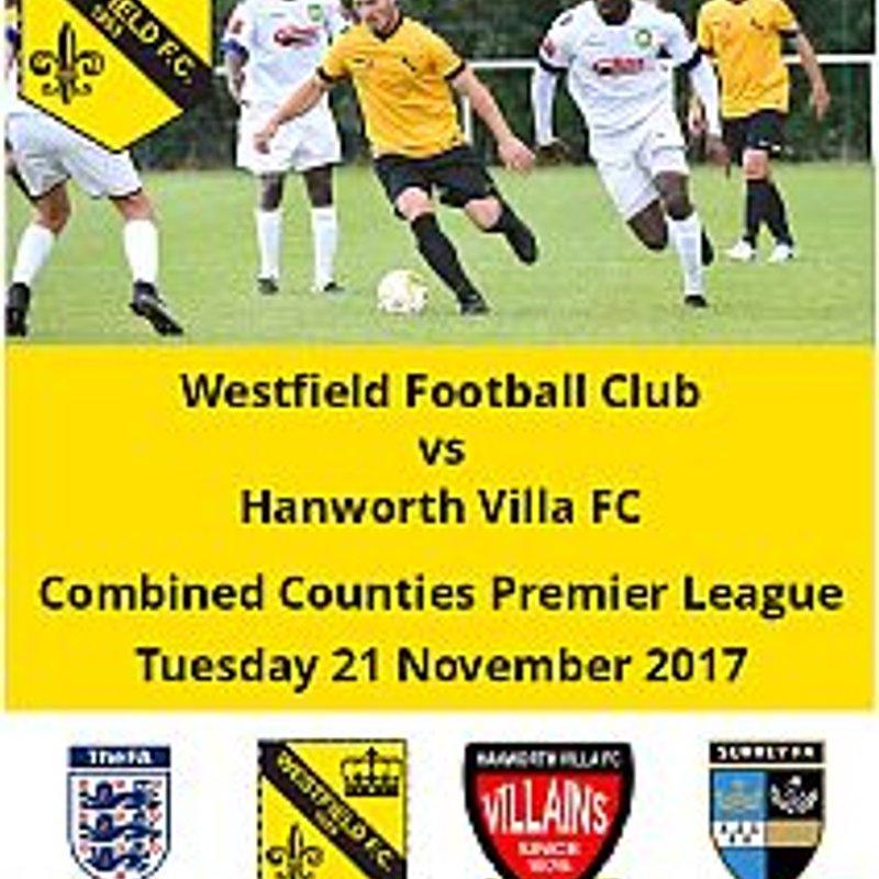 Westfield vs Hanworth Villa this Tuesday