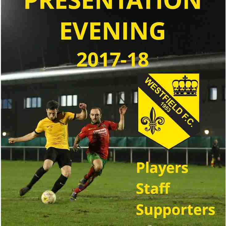 End of Season Presentation Evening on Saturday 28 April