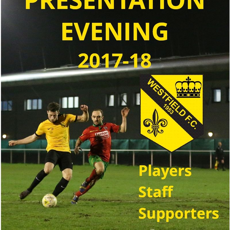 End of Season Presentation Evening on Saturday 27 April