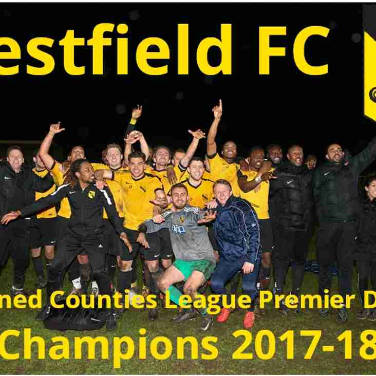 Westfield are Champions ! Trophy presentation vs Bedfont Sports
