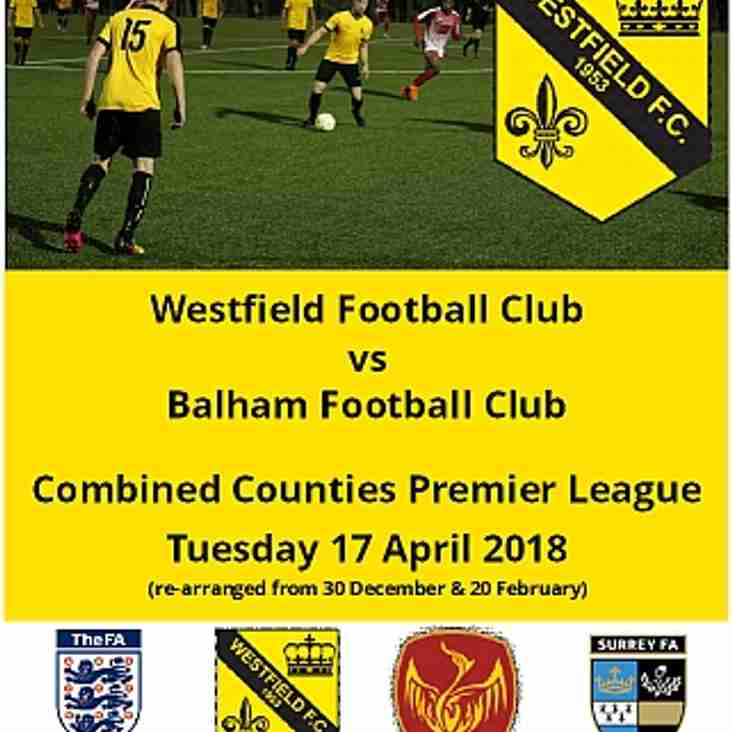 Westfield vs Balham Tuesday 17 April