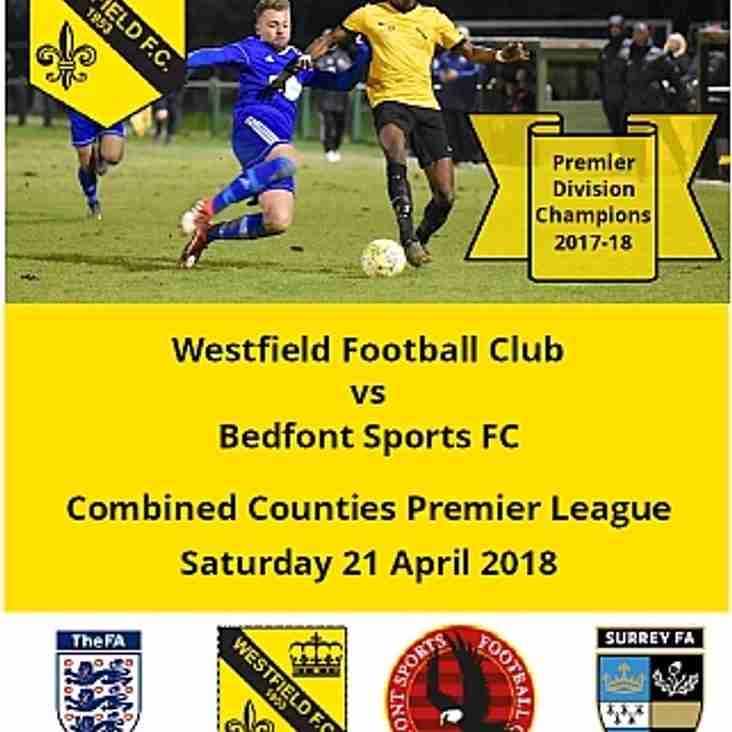 Westfield vs Bedfont Sports Saturday 21 April