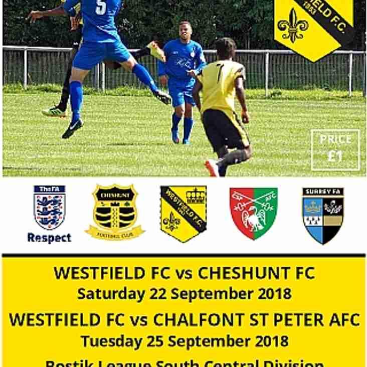 Match programmes vs Cheshunt & Chalfont tomorrow