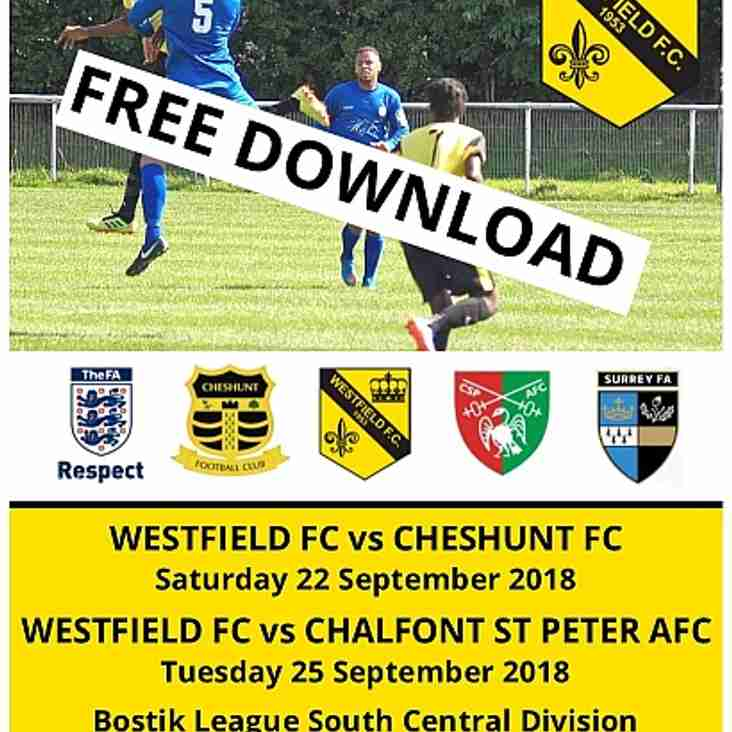 Cheshunt & Chalfont Matchday Programme now online