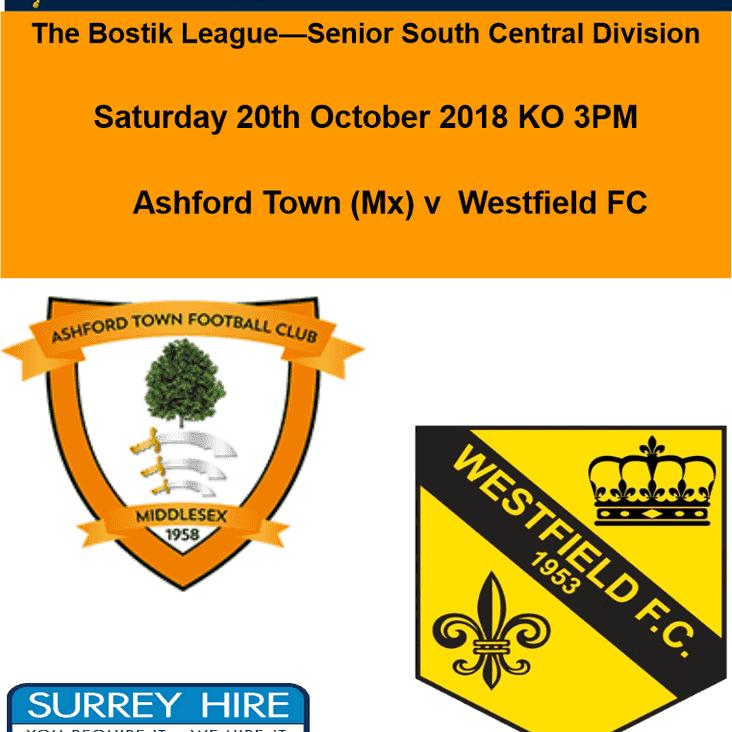 Away to Ashford Town today Saturday 20 October