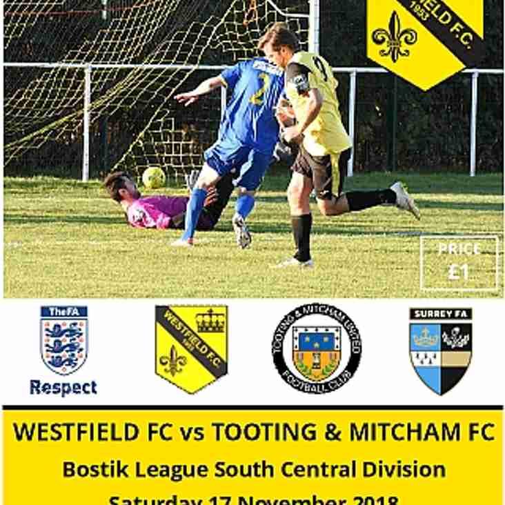 Westfield vs Tooting & Mitcham this Saturday