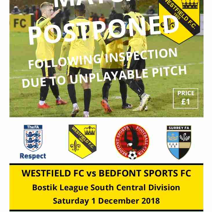 Home to Bedfont Sports today (Sat 1st) is Postponed