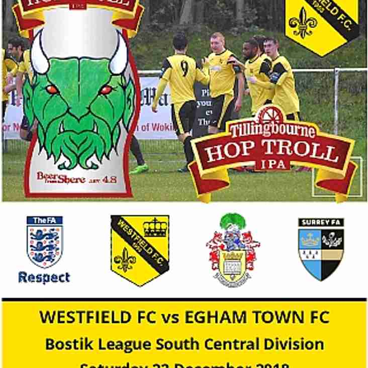 Westfield vs Egham Town tomorrow (Saturday 22nd)