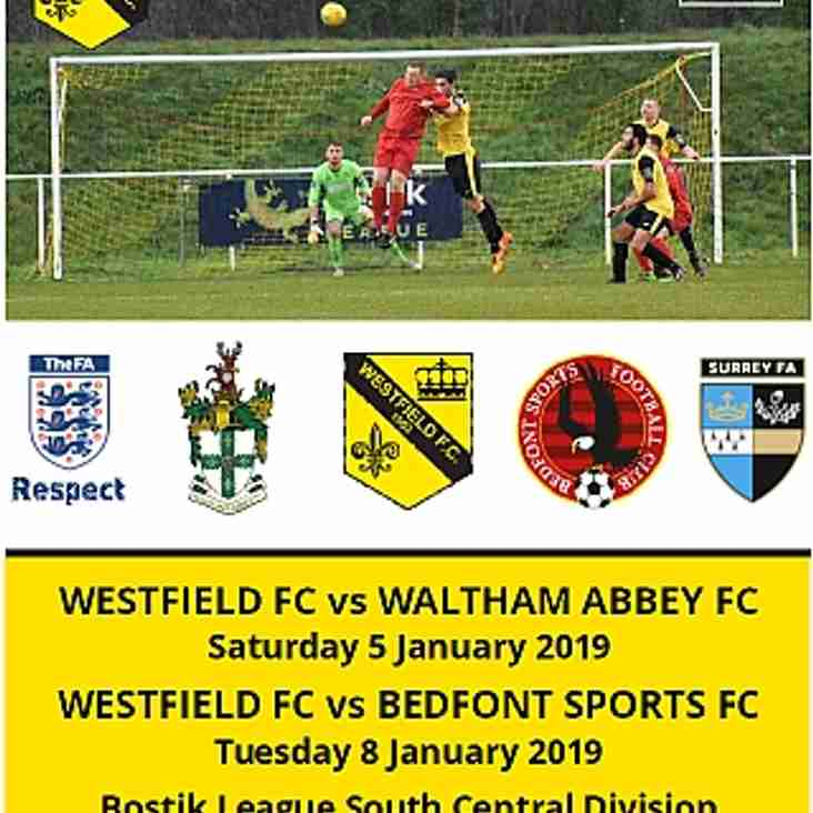 Westfield vs Bedfont Sports tonight (Tues 8th)