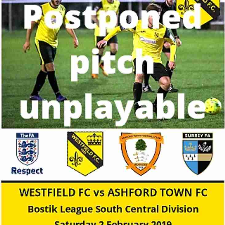 Westfield vs Ashford Town today (2nd) is Postponed