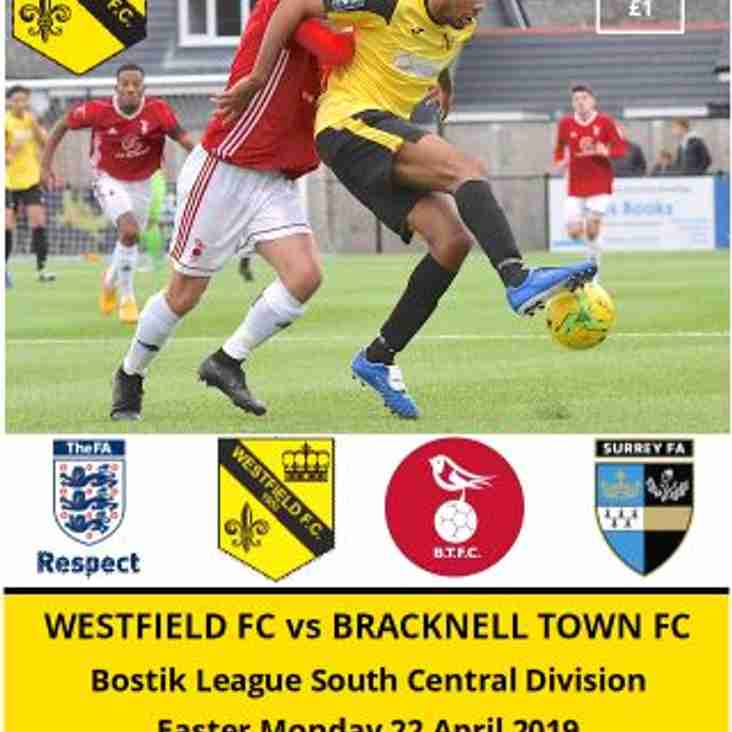 Final home game of season vs Bracknell Town tomorrow (22 April)