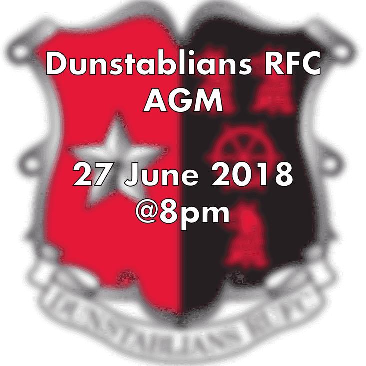 NEW DATE - Dunstablians RUFC AGM - 27 June 2018 @ 8pm