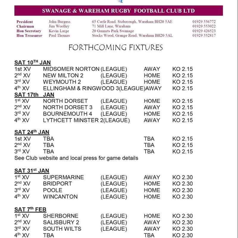 Forthcoming Senior Fixtures