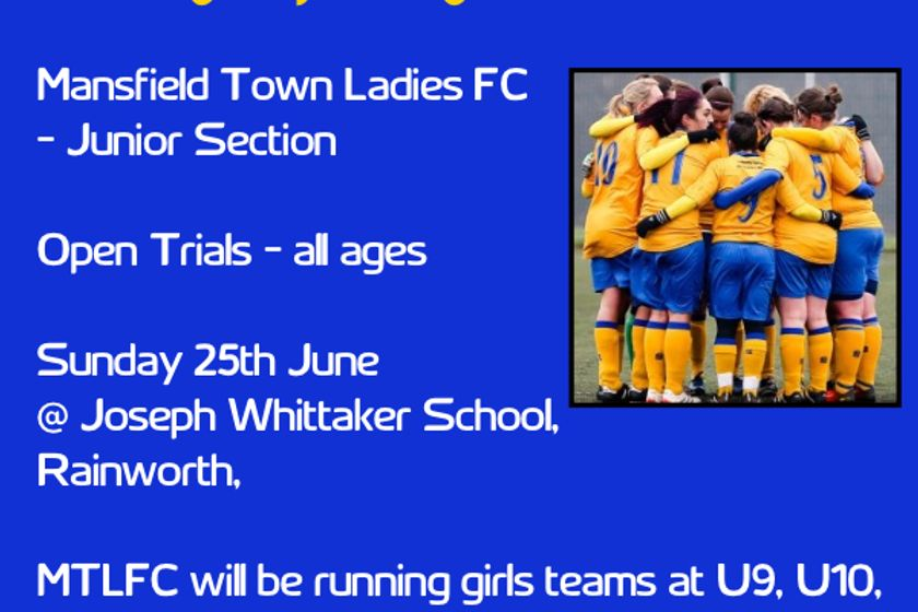 Junior Section - Open trials Sunday 25th June