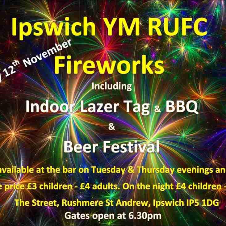 Ipswich YM RUFC Fireworks - Saturday 12 November 2016