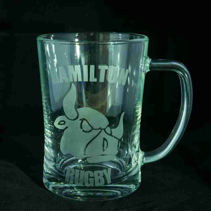 Hamilton Rugby Club Souvenir Drinking Glasses