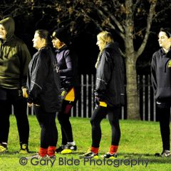 Chard Ladies XV Training Session ~ 13 February 2017.   Training under Flood Lights and a Rising Moon.