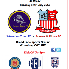 Tuesday 26th July (v Wivenhoe Town FC)