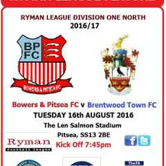 Witness History (Tuesday 16th August 2016 v Brentwood Town)