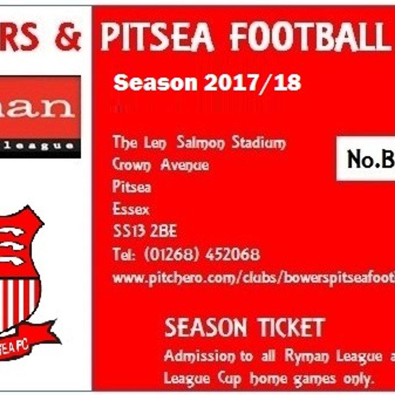 Bowers & Pitsea Season Ticket Offer