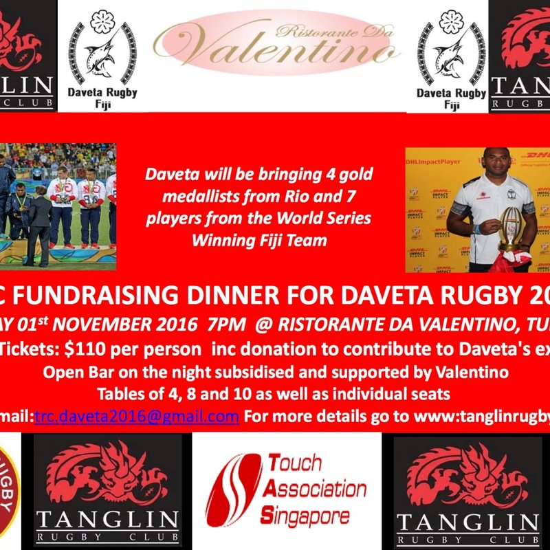 TRC Fundraising Dinner for Daveta Rugby - Tuesday 1st November