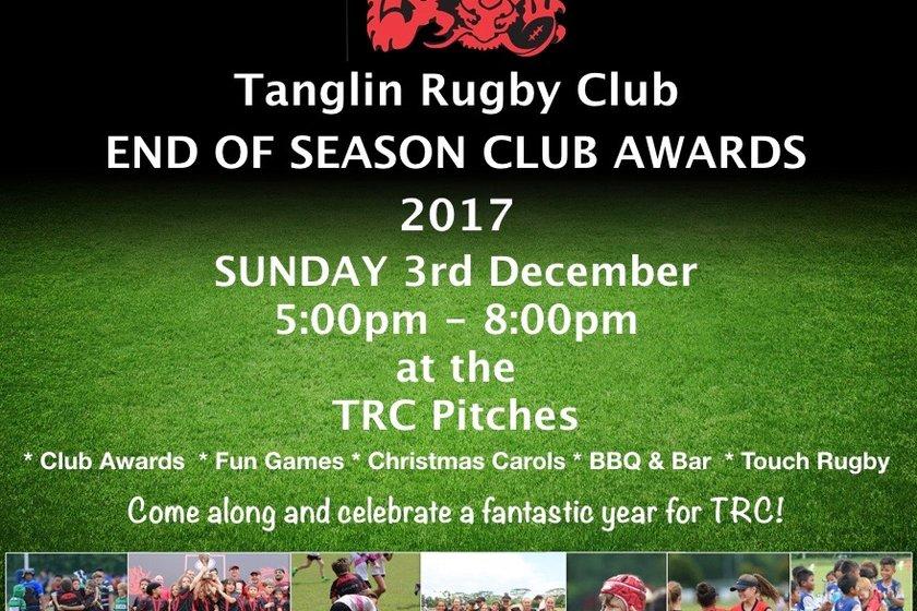 End of Season Club Awards - Sunday 3rd December - 5:00 - 8:00pm