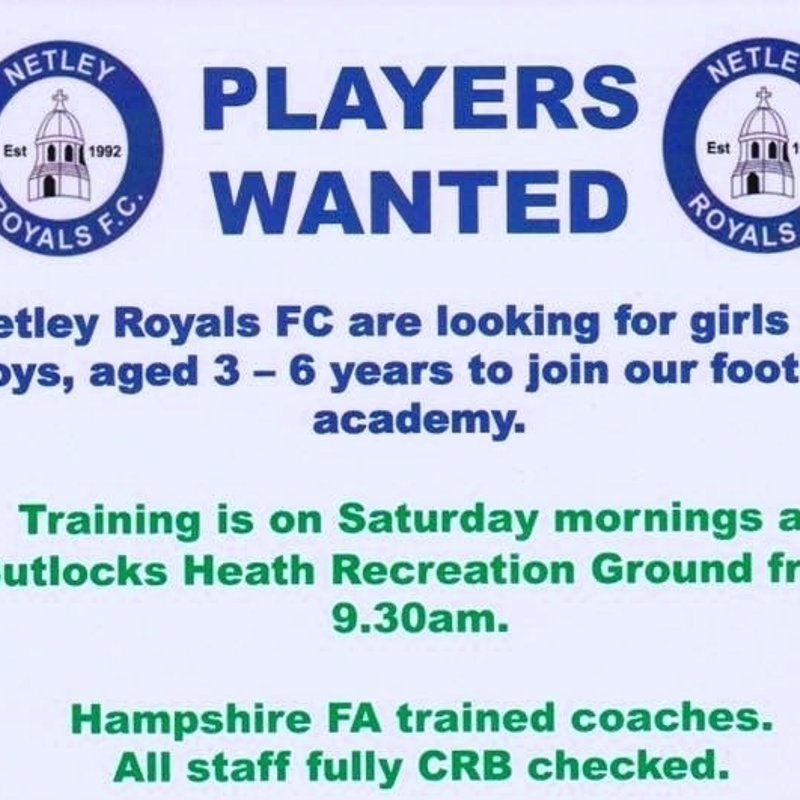 Netley Royals F.C.  are looking for girls & boys aged 3 to 6 years, join our football academy