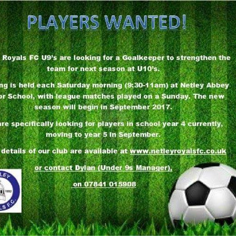 Seeking Goalkeeper for next seasons U10s