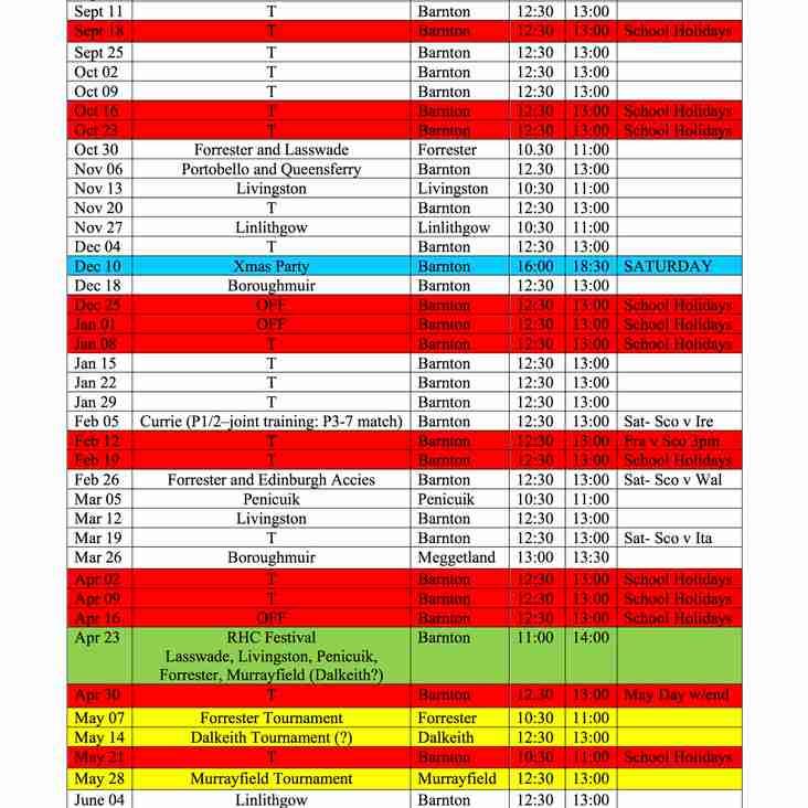 Minis Fixtures 2016/17