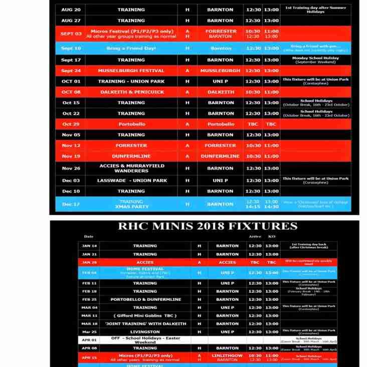 Minis Fixtures 2017/18
