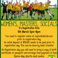 Registration time for Women's, Masters and Socials