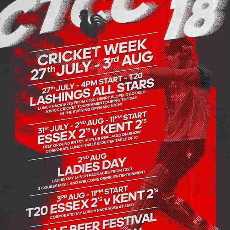 Cricket week tables selling fast!