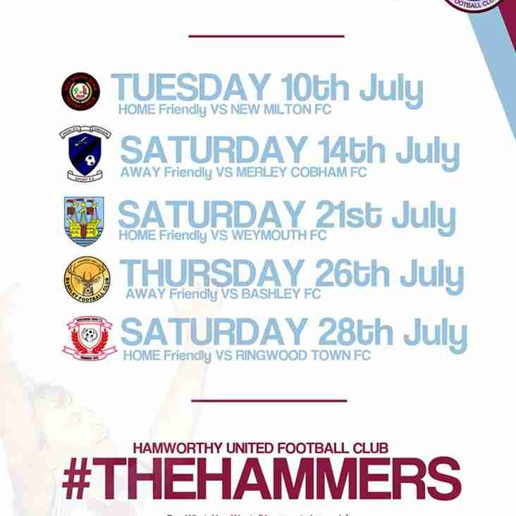 Hammers pre-season games just announced.
