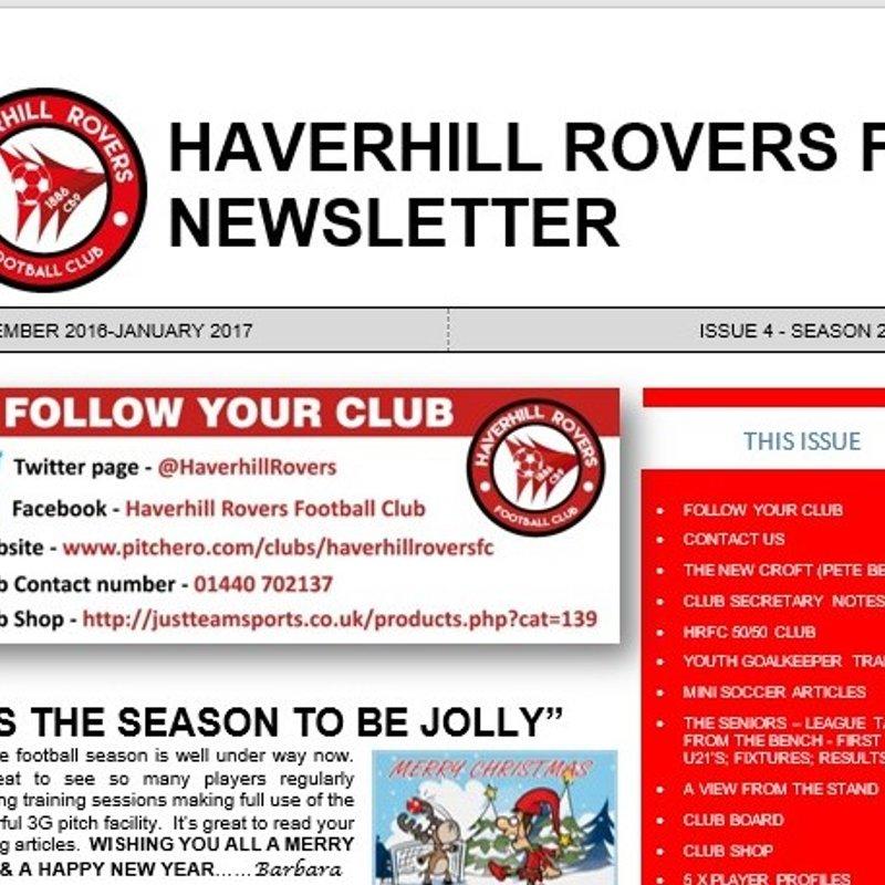 HAVERHILL ROVERS F C NEWSLETTER (DEC 2016 - JAN 2017)