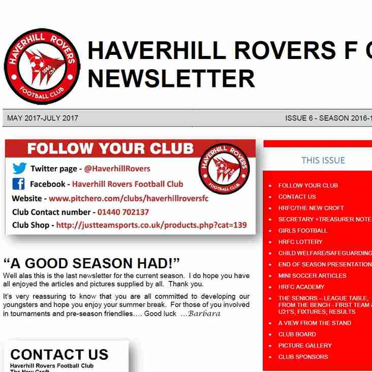 HAVERHILL ROVERS F C NEWSLETTER (MAY 2017 - JUL 2017)
