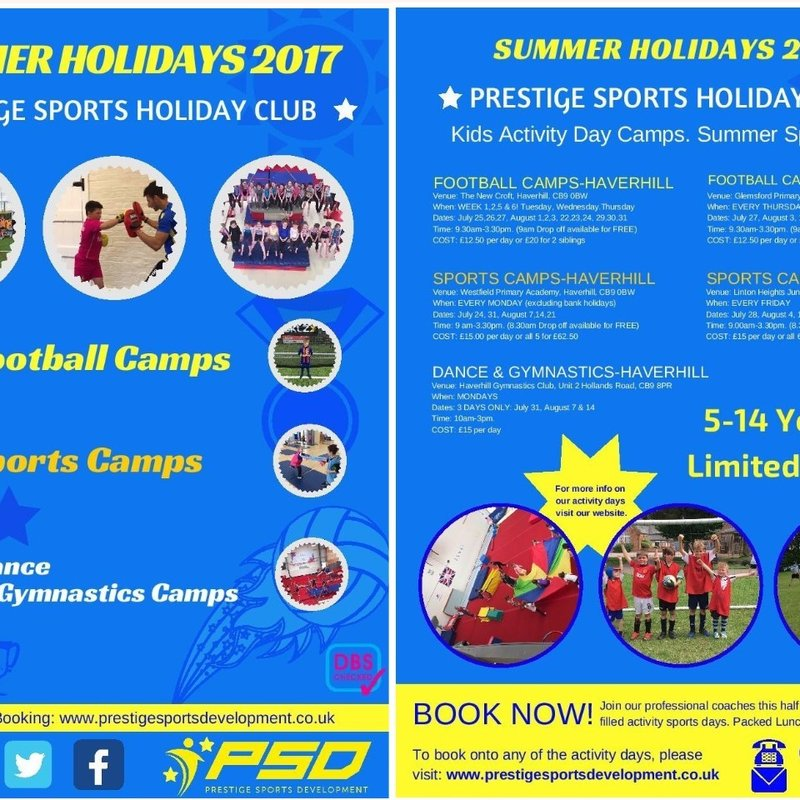 PRESTIGE SPORTS PRESENTS A HOST OF SUMMER 2017 ACTIVITIES AT THE NEW CROFT
