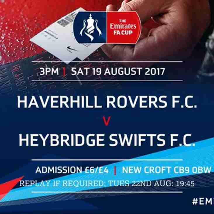 SAT. 19 AUG 2017 - F A CUP PRELIMINARY ROUND - HAVERHILL ROVERS F C vs HEYBRIDGE SWIFTS F C