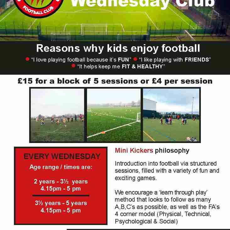 MINI KICKERS - WEDNESDAY CLUB - STARTS 13 SEPTEMBER 2017