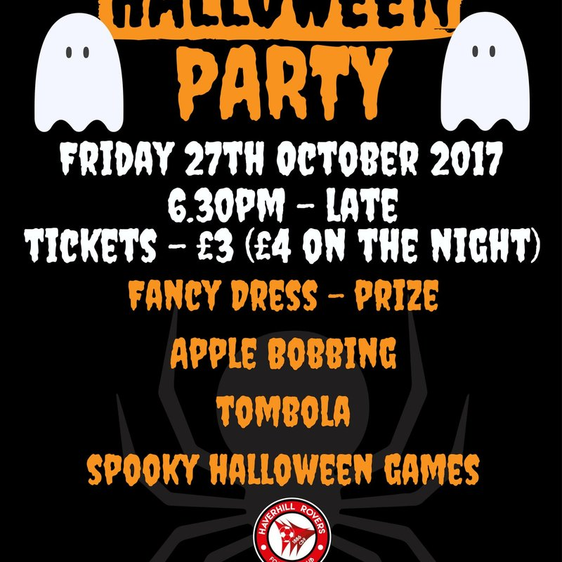 HRFC HALLOWEEN PARTY - FRIDAY, 27 OCTOBER 2017